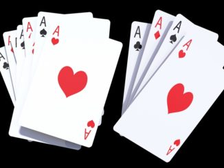 Gaming Poker Cards Isolated on Solid Black Background. Casino Cards 3D Rendered Illustration.